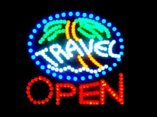 "Ultra Bright Led Neon Light Animated Travel Open Business Sign 19""x19"" Lb97"