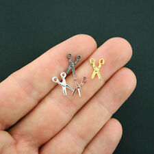 12 Scissors Charms 2 Sided Assorted Set - Silver Gold Rose Gold  Tones - SC5436