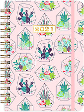 2021 Daily Planner Hardcover Book Refill With Tabs Organizer Wire Binding Pink