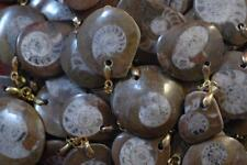 LOT OF 10 JEWELRY DRILLED AMMONITE FOSSIL PENDANT WITH BAIL FROM MOROCCO