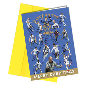 #1439 Leeds United Christmas Greetings Card Reproduction Signed Players