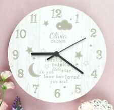 Childrens Personalised Twinkle Twinkle Wooden Bedroom Clock - Add Any Name Date