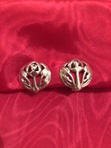 Beautiful Rennie Mackintosh Style Round Pierced Silver 925 Clip On Earrings