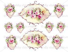 Furniture Glass Decal Image Transfer Vintage Antique French Labels rose frames