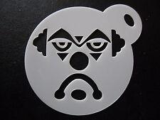Laser cut small sad clown face design cake, cookie, craft & facepainting stencil
