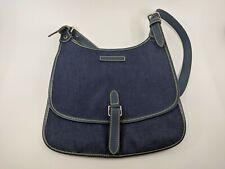 Dooney & Bourke Denim Sling Saddle Flap Shoulder Bag Handbag Purse Flat