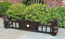 Antique English Oak Gothic Fireplace Fender Hearth Surround LIONS Early 19th C.