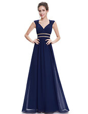 Ever Pretty Long Ball Evening Dresses V-neck Navy Blue Bridesmaid Dresses 08697