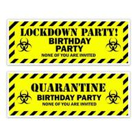 QUARANTINE LOCKDOWN BLACK YELLOW BIRTHDAY PARTY WALL BANNER KIDS MENS LADIES