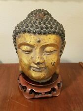 Antique Rare Tibet Buddhism BRONZE Sakyamuni Shakyamuni Buddha Head Gold Gilded