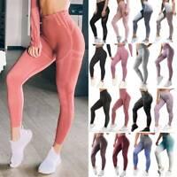 Women's Seamless Sports Leggings Yoga Pants High Waisted Fitness Gym Trousers O4