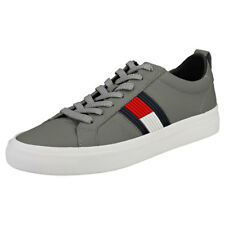 924e7e2d8ec8d6 Tommy Hilfiger Flag Detail Sneaker Mens Light Grey Leather Trainers - 44 EU