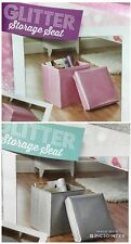 NEW DESIGN PINK & SILVER GLITTER SILVER SPARKLE STORAGE SEAT BOX