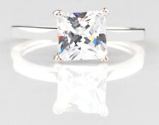 Real 14KT White Gold Nice Princess Shape 2.70 Carat Solitaire Anniversary Ring