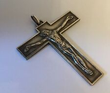 A Deco French France Modernist Priest Pectoral Cross Crucifix Signed Jean Balme