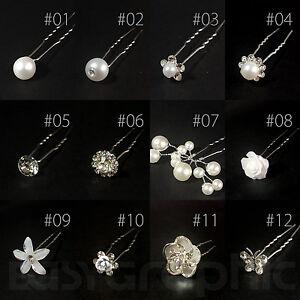 Bridal Hair Pins Rhinestone Pearl Diamante Flower Slide Clips Grips Wedding