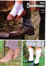 Knitting Pattern for Socks in 4ply Sunbeam 1183 Inc 5 Designs