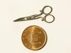 19thC Cutlers Exhibition Miniature Steel WORKING Scissors 34mm #V46*