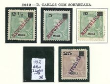Angola 1912 - King Carlos I overprinted REPUBLICA x 4 stamps MH / used