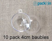 4cm (x10 qty) Clear Acrylic Two Piece ROUND Baubles Balls christmas ornaments