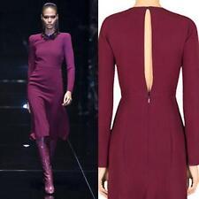 AUTH $2700 Gucci Wine BORDEAX Silk Cady KEYHOLE Open Back DRESS 42/6