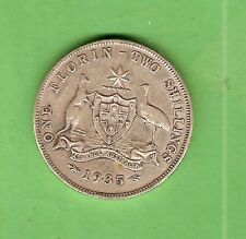 #C34. 1935  AUSTRALIAN STERLING SILVER FLORIN TWO SHILLING  COIN