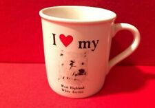 Vtg Papel Mug Cup West Highland White Terrier Dog I Love Heart My Westie Puppy