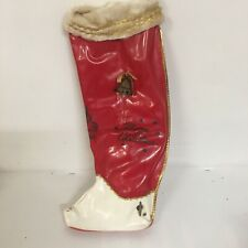 Vtg Christmas Stocking Boot Red Vinyl with rare wind up music box Silent Night