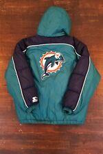 Vintage VTG 90s Starter Miami Dolphins Hooded Puffer Jacket Zip Up Size Large L