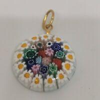 Vintage Millefiore Small Glass Round Pendant Multicoloured Floral