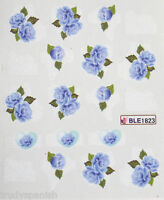 Nail Art Water Decals Decoration Transfers Blue Vintage Flowers Gel Polish 1823