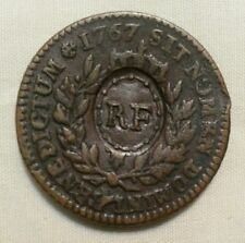 1767 A french colonies RF countermark EF smooth glossy chocolate