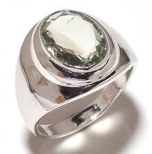 925 Sterling Silver Green Amethyst Gem Stone Ring Men's Jewelery Us Size 8