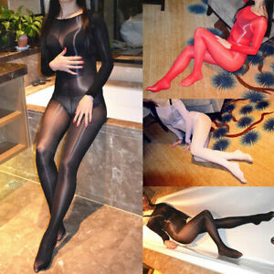 Women's Transparent Bodystocking Shiny Glossy Bodysuit Sheer Open Crotch Tights