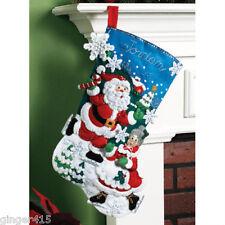 "Bucilla SKATING CLAUSES Santa Felt Christmas Stocking Kit OOP Factory Direct 18"""
