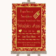Wedding Sign Poster Print Red & Gold Wedpics App Photos