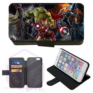 iPhone & Galaxy Faux Leather Printed Flip Phone Case Superhero's (E)