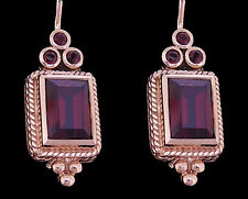 Gorgeous Genuine 9ct Solid Rose Gold Natural Garnet Drop Earrings with closure
