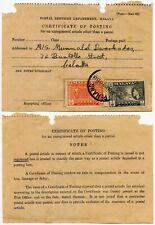 MALAYA CERTIFICATE of POSTING 1959 FRANKED 1c + 2c PENANG