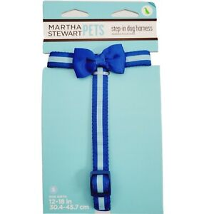 Martha Stewart Pets® Blue Stripped with Bow Step-In Dog Harness Sz Small New