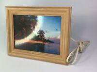 VTG Beach Cabana Ocean Framed Picture w Light,  Motion, NO Bird, Water Sounds