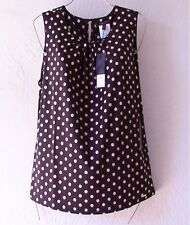 NEW~$120~BCBG~Black & Ivory POLKA-DOT Blouse Shirt Shell Tank Top~12/14/L/Large