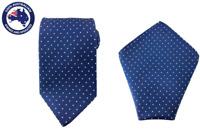 Men's Navy Blue White Polka Dot 8.5CM Necktie & Pocket Square Wedding Tie Bundle