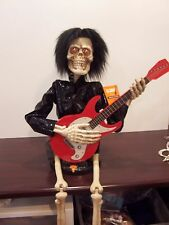"""Halloween Party prop decoration Skeleton playing banjo animated musical 37"""" tall"""
