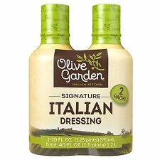 2 Olive Garden Signature Italian Salad Dressing Bottles Vegetable Dip 20 Oz. NEW
