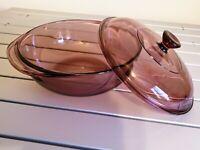 Vintage Cranberry Purple PYREX 1.5 Qt L Glass Casserole Dish Bowl with Lid #023