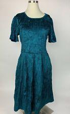 LulaRoe Elegant Teal Blue Crushed Velvet Amelia Fit Flare Pleated Dress XL Wow!