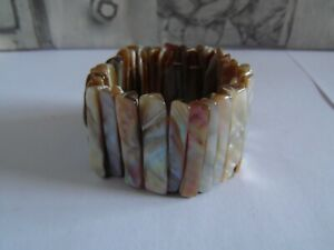 Vintage Brown and Grey Abalone Shell Elasticated Bracelet