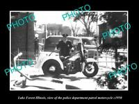 OLD 8x6 HISTORIC PHOTO OF LAKE FOREST ILLINOIS THE POLICE MOTORCYCLE c1950