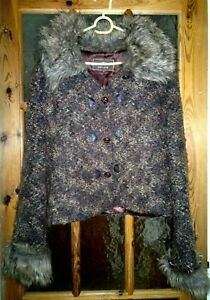 "PER UNA Brown Jacket Faux Fur Collar & Cuffs Size:18 - Chest 42"""